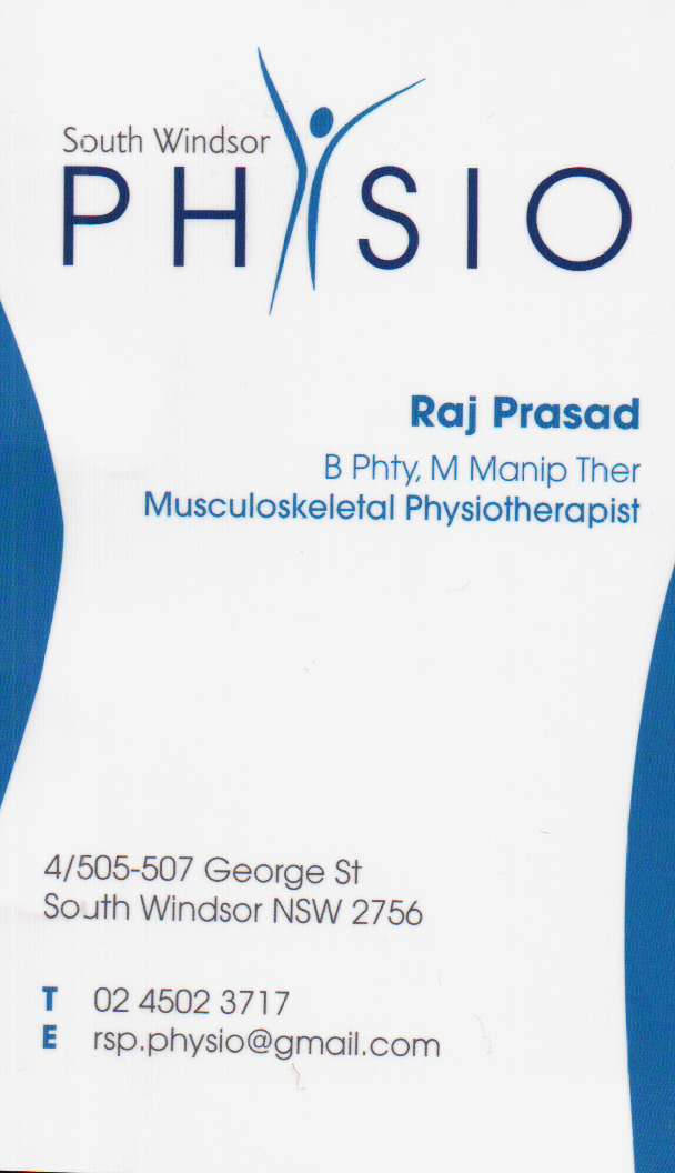 Physio south windsor nsw physiotherapist Raj Prasad Back and Neck Pain Muscular Joint Disorders Sports Injuries Shoulder Elbow Hip Knee Leg etc Massage Spinal Orthopedic Care Physiotherapy Massage Spinal, Orthopedic Care